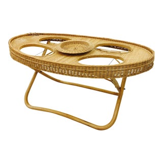 Vintage Woven Wicker & Rattan Tray Table For Sale