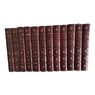French Court Antique Leather Bound Books by Lady Jackson - Set of 12 For Sale