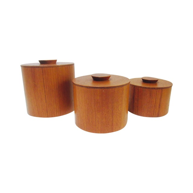 Danish Modern Teak Canister Set - Image 1 of 11