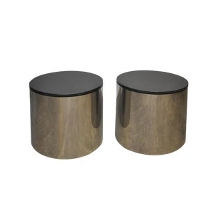 Paul Mayen Stainless and Black Granite Side Tables For Sale