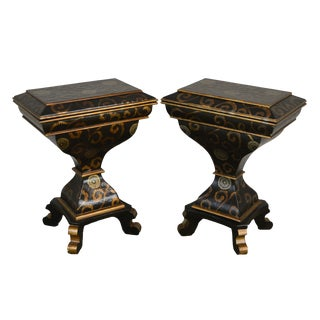 Black and Gold Decorative Pair Flip Top Pedestal Stands For Sale