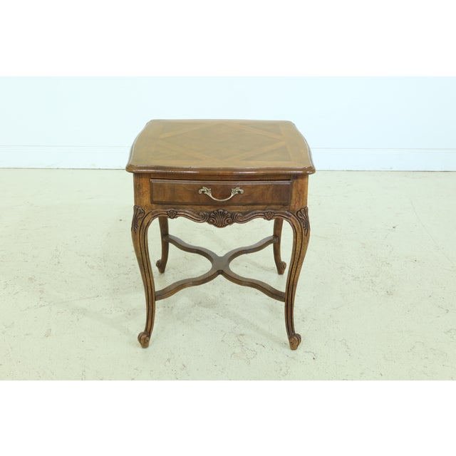 Drexel Heritage Country French Style Walnut & Oak End Table For Sale - Image 10 of 10