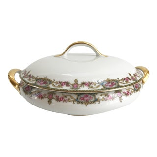 1910s Antique French Limoges Gilt Porcelain Pink Floral Soup Tureen For Sale