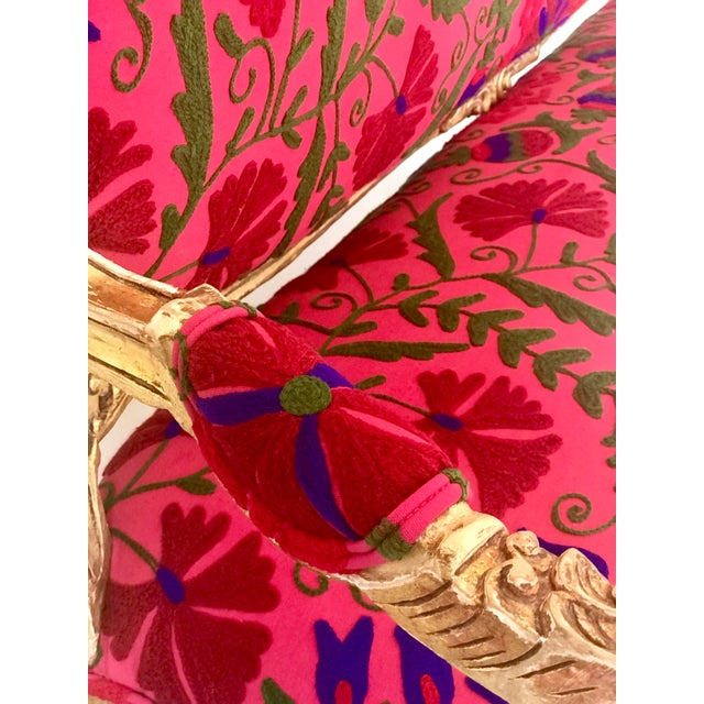 20th Century Boho Chic Red and Hot Pink Velvet French Settee - Image 6 of 11