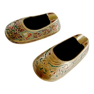 Vintage Boho Chic Indian Mini Shoe Shape Ashtray - a Pair For Sale