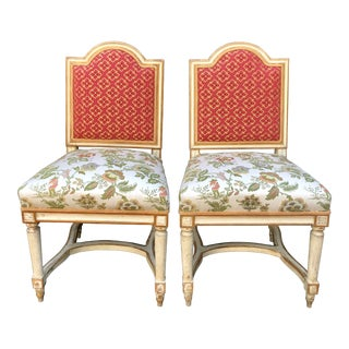 Pair of Antique Louis XVI Style Maison Jansen Side Chairs For Sale