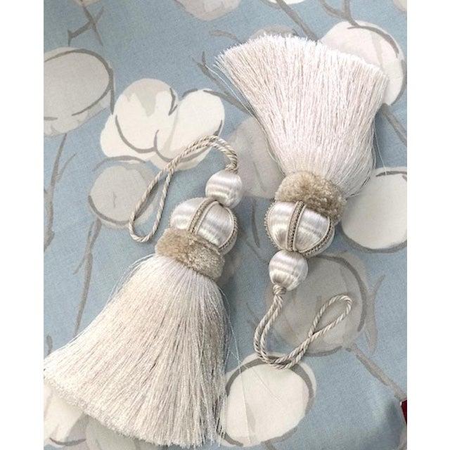 Ivory Key Tassels W Cut Velvet Ruche - a Pair For Sale - Image 4 of 11