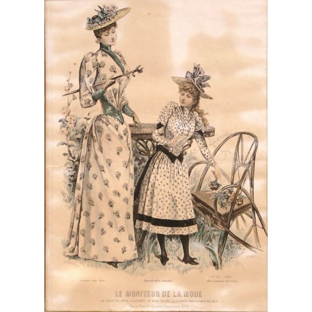 """Beige 19th Century French Color Women Fashion Prints Framed Dated 1890 """"Set of Five"""" For Sale - Image 8 of 13"""