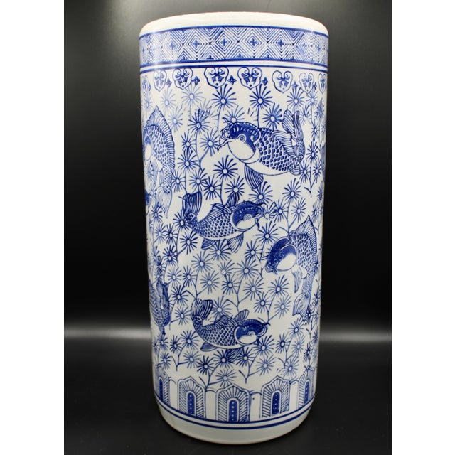 Asian Vintage Blue and White Chinese Porcelain Umbrella Stand For Sale - Image 3 of 13