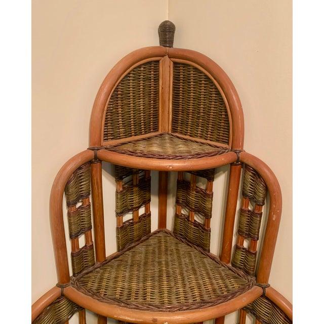 Tan Vintage Rattan Corner Cabinet For Sale - Image 8 of 11
