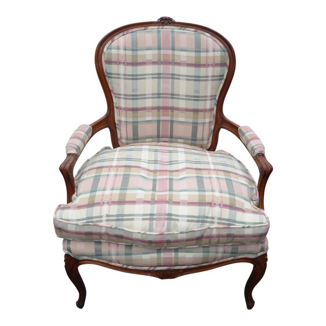 Vintage French Country Carved Wood & Plaid Arm Chair - Image 1 of 11
