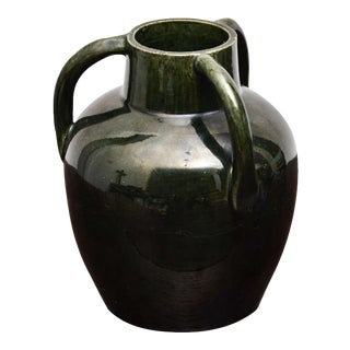 Dark Green Ceramic Vase With Three Handles For Sale