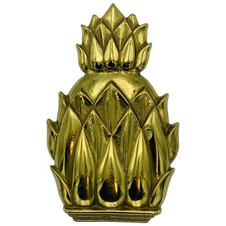 1960s Virginia Metalcrafters Brass Pineapple Door Knocker, 'Newport #4022' For Sale