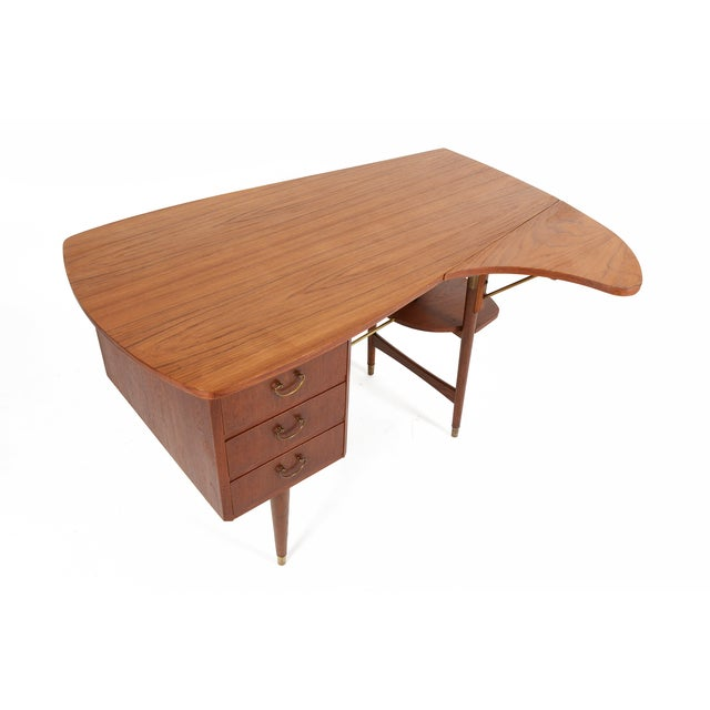 Danish Modern Biomorphic Double Drop Leaf Desk - Image 6 of 11
