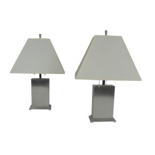 A Pair of Steel and Chrome Table Lamps by Chase For Sale