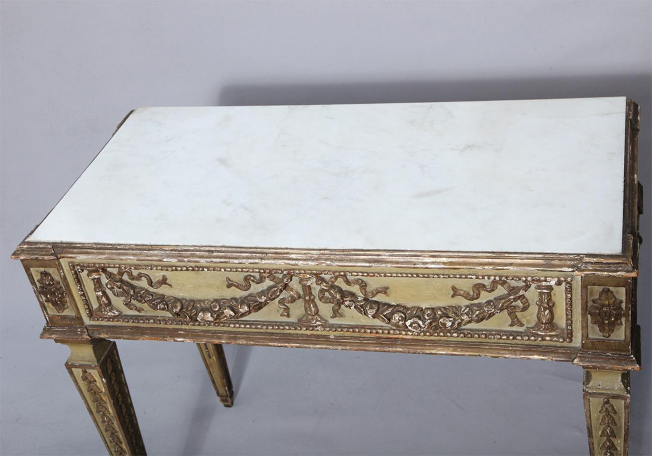 Antique Italian Marble Top Console Table   Image 6 Of 9