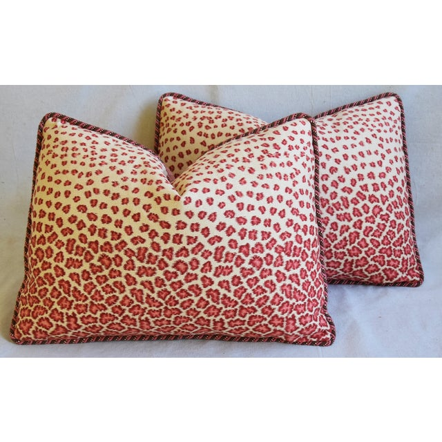 "Cotton Colefax & Fowler Leopard Print & Chenille Feather/Down Pillows 22"" X 16"" - Pair For Sale - Image 7 of 13"