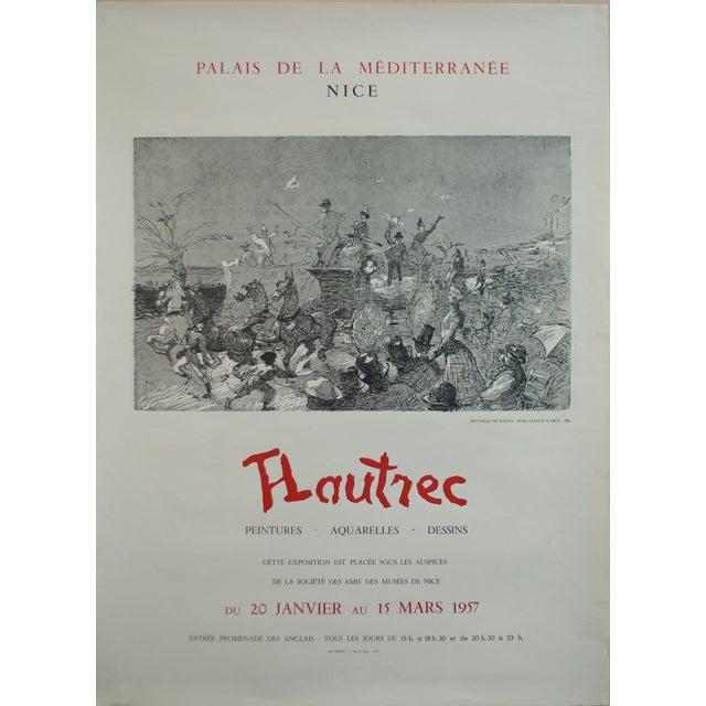 1957 Original Toulouse Lautrec Exhibition Poster, Palais De La Méditerranée For Sale
