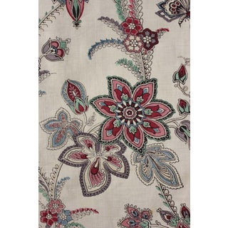 French Antique Indienne Floral Butterfly Printed Cotton C1860 Old Curtain Drape For Sale