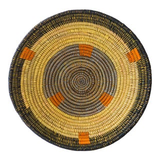 Woven Yellow and Orange Fele Tribal Bowl For Sale