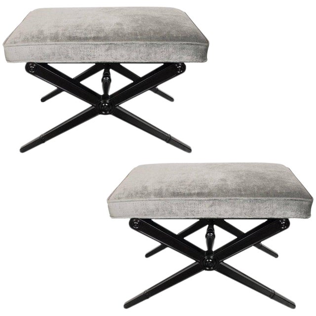 Pair of Mid-Century Modern X-Form Benches in Ebonized Walnut and Platinum Velvet For Sale