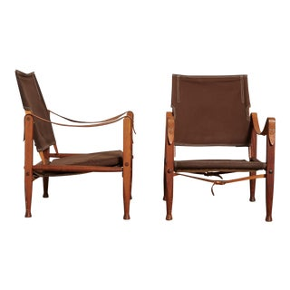 Pair of Kaare Klint Safari Chairs in Canvas, Made by Rud Rasmussen, Denmark For Sale