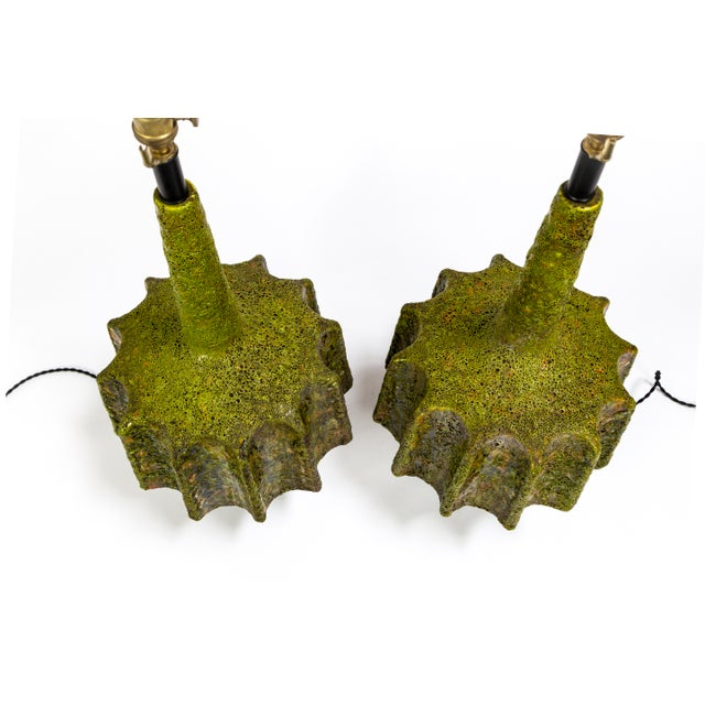 Fantoni Monumental Pair of Green Lava Glaze Lamps by Volcano Fantoni For Sale - Image 4 of 12
