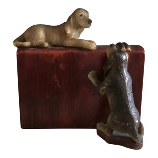 Mid-Century Book & Two Dogs Figurine