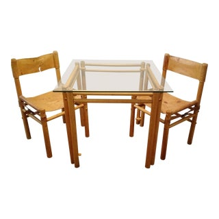 Mid Century Beech Wood Argentina Leather Sling Chairs & Glass Table For Sale