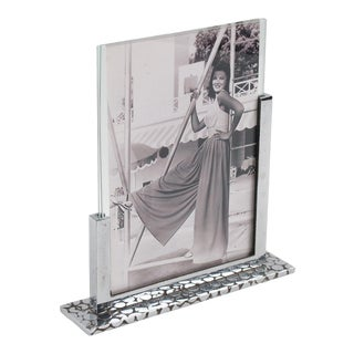 French Art Deco Modernist Chrome Picture Photo Frame For Sale