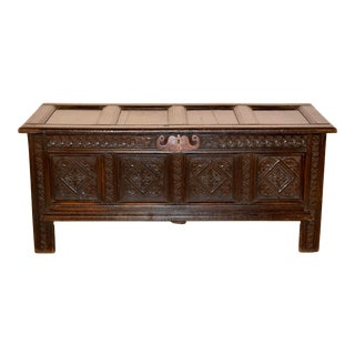Late 18th C. English Oak Blanket Chest For Sale