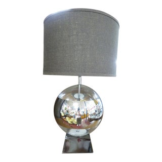 Vintage Mid Century Modern Glass and Mirror Ball Lamp With Shade, C1970 For Sale