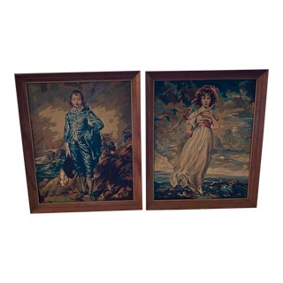 """1950s Vintage """"Blue Boy"""" and """"Pinkie"""" Paintings by Numbers- A Pair For Sale"""
