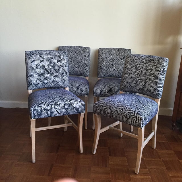 Light Wood Upholstered Blue Geometric Dining Chairs