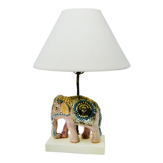 Vintage Boho Beaded Indian Elephant Lamp For Sale