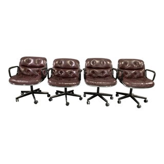 1960s Vintage Charles Pollock for Knoll International in Leather Executive Chairs- Set of 4 For Sale