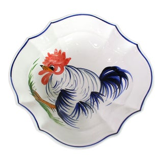 Mid-Century Italian Zanolli Ceramics Hand Painted Rooster Majolica Serving Bowl For Sale