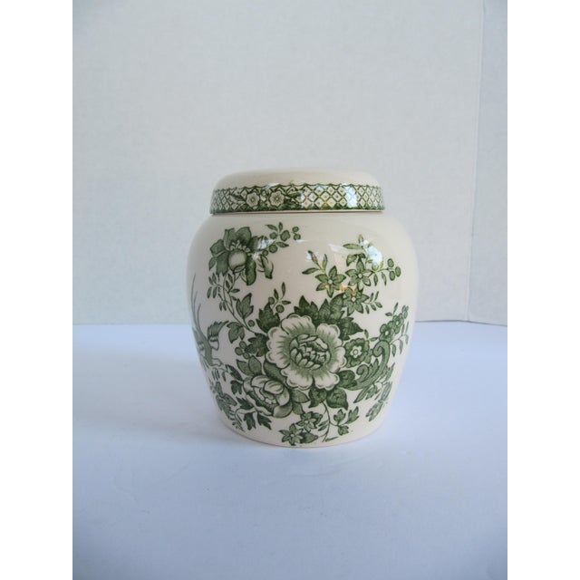 Asian English Mason's Green Flower Ironstone Ginger Jar For Sale - Image 3 of 6