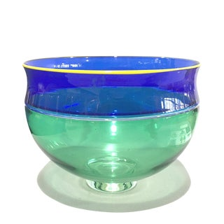 American Alex Brand Glass Incalmo Bowl Blue Green Yellow 1999 For Sale