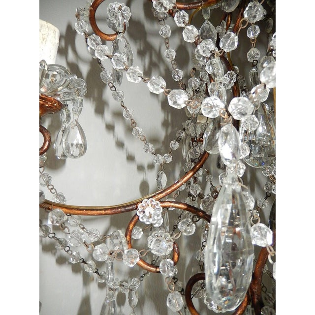 1920s 1920, French, Swags and Crystal Prisms Chandelier For Sale - Image 5 of 9