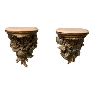Late 19th Century Antique Wood Wall Brackets - a Pair For Sale