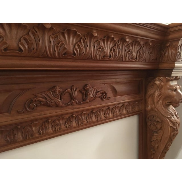 2000 - 2009 Humongous English Style Custom Carved Wood Lion Mantelpiece For Sale - Image 5 of 13