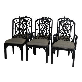 Six Vintage Ebonized Chinese Chippendale Stylized Bamboo Dining Chairs - Set of 6 For Sale