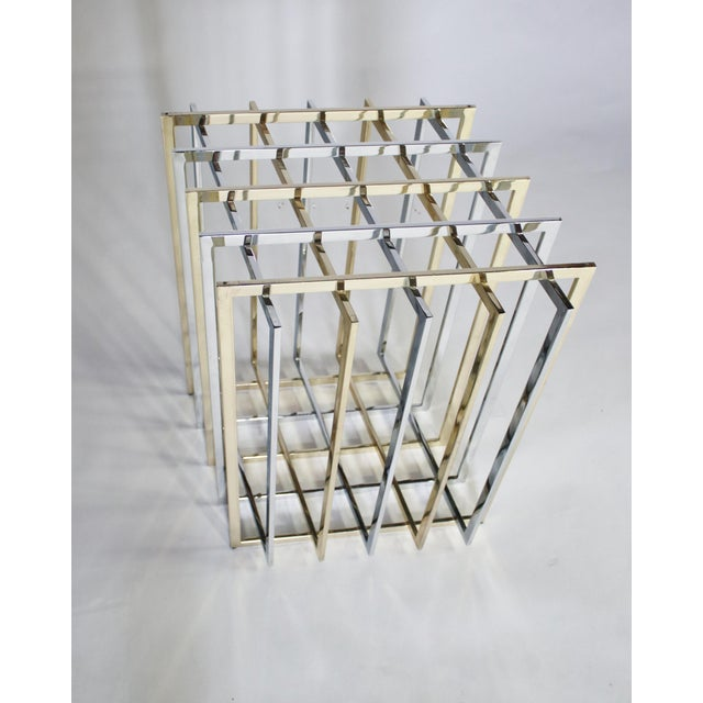 1970s Pierre Cardin Mixed Chrome and Brass Grid Table For Sale - Image 5 of 10