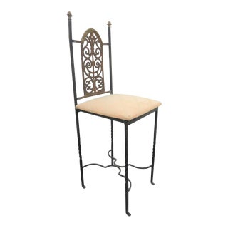 Oscar Bach Style Iron & Brass Side Chair For Sale