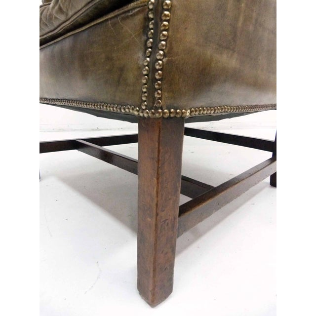 Distressed Leather 19th C. Wingback Chair - Image 8 of 10