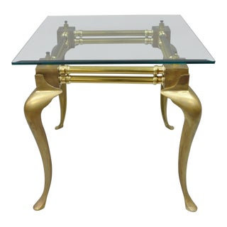 Vintage Brass & Glass Queen Anne Accent Table