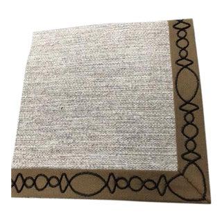 Irish Linen Rug With Leather Applique Trim