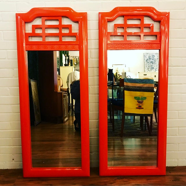Lacquered Henry Link Mandarin Mirrors - A Pair - Image 4 of 4