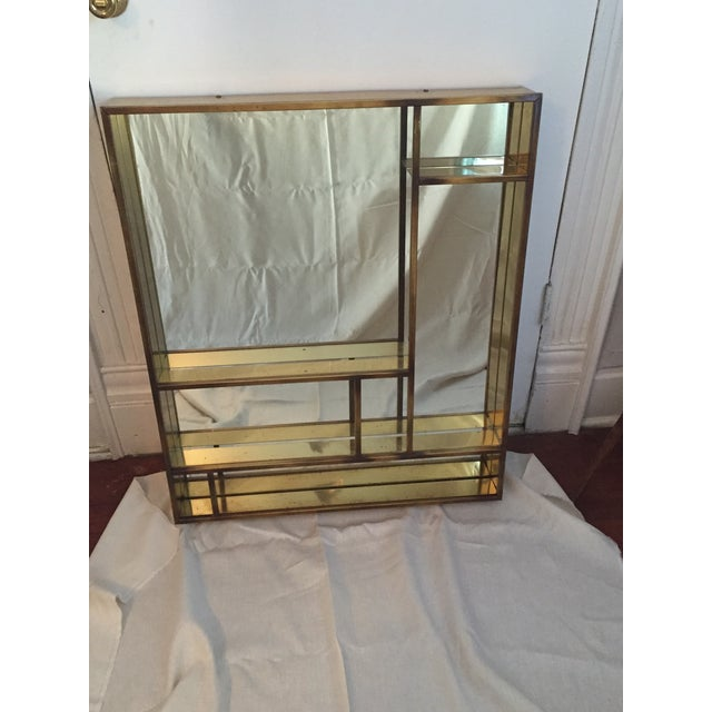Signed Curtis Jere Brass Mirrored Shelf - Image 2 of 5